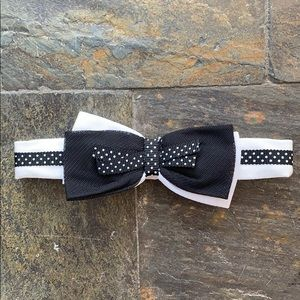 Stretch Headband with Black and White Bow